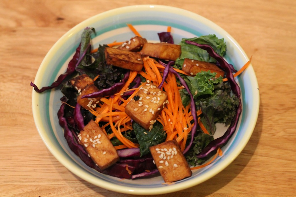 Detox salad with baked sesame tofu