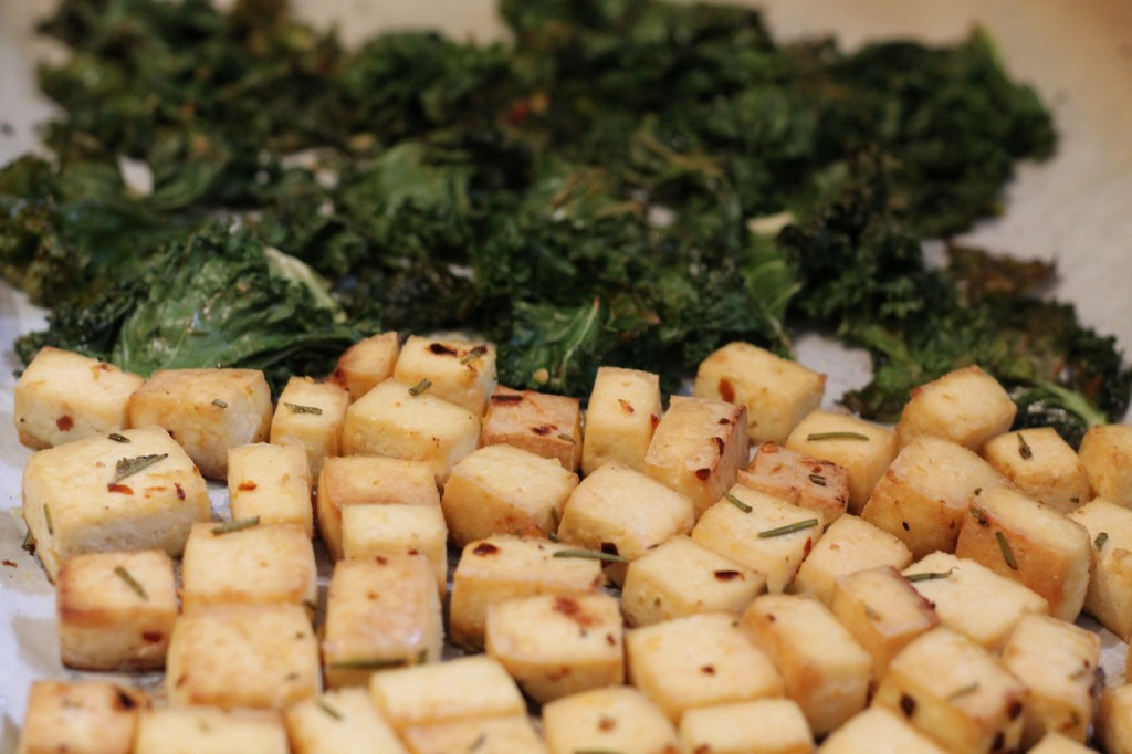 Roasted tofu and kale