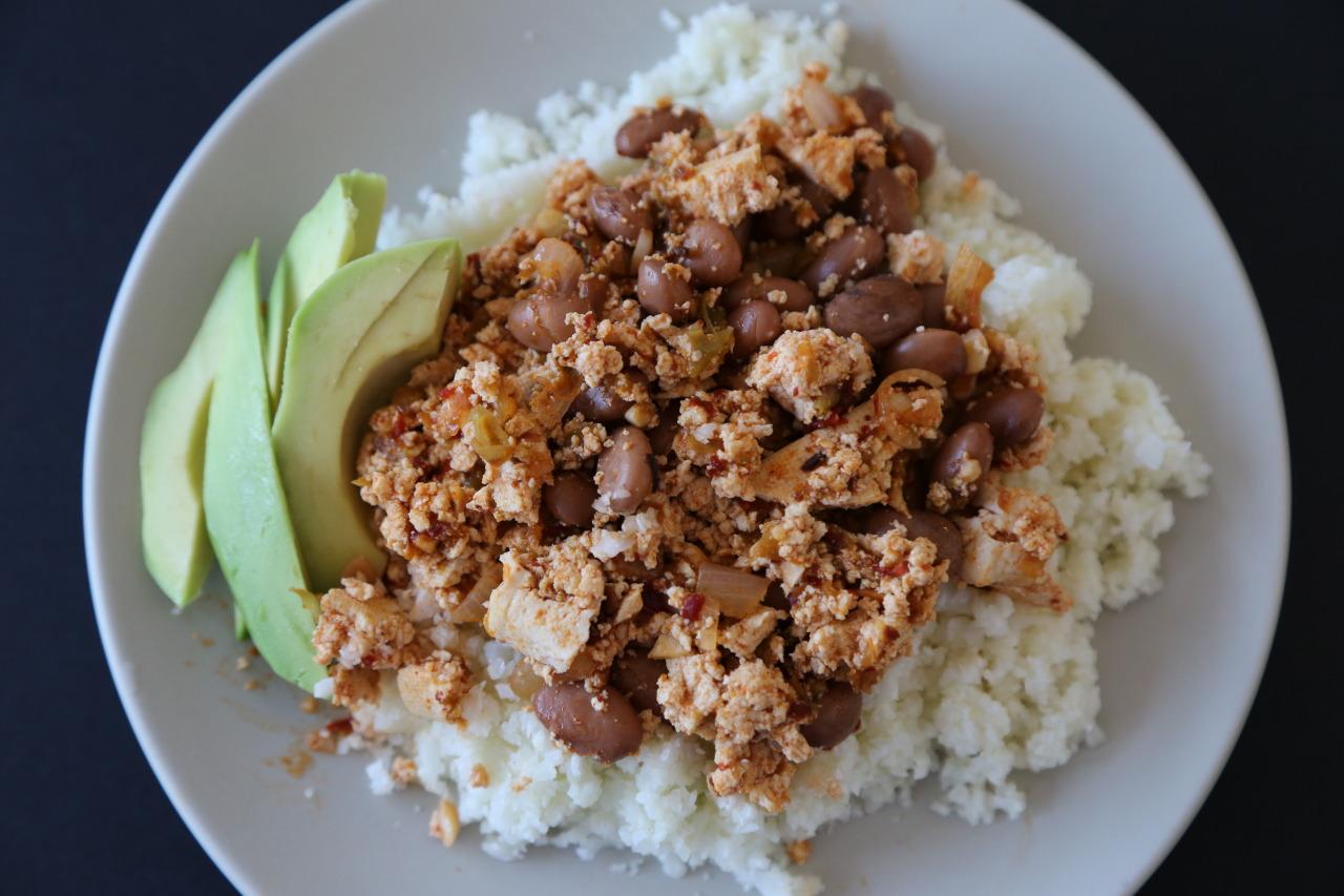 Chipotle tofu with cauliflower rice
