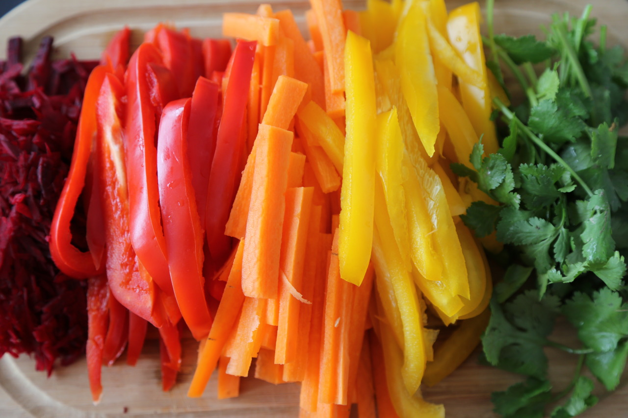 Rainbow veggies for rainbow rolls