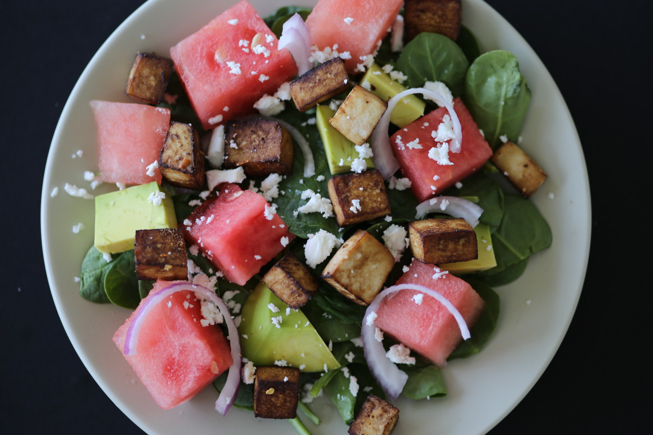 Watermelon, feta, and spinach salad
