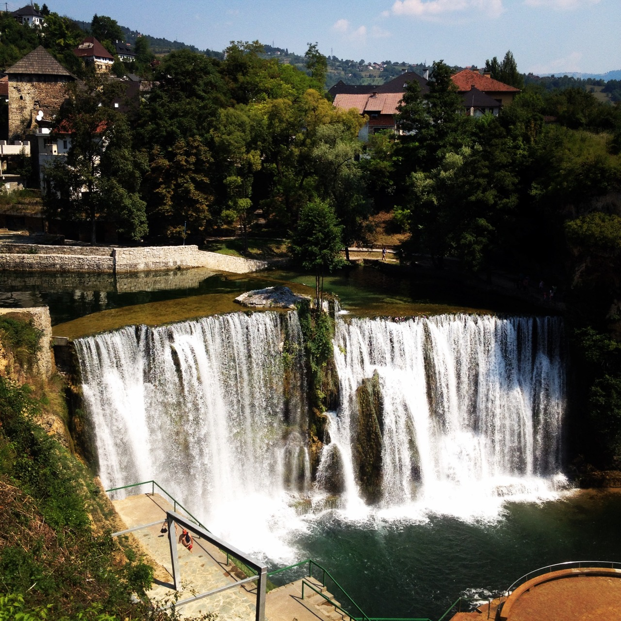 Jajce's urban waterfalls