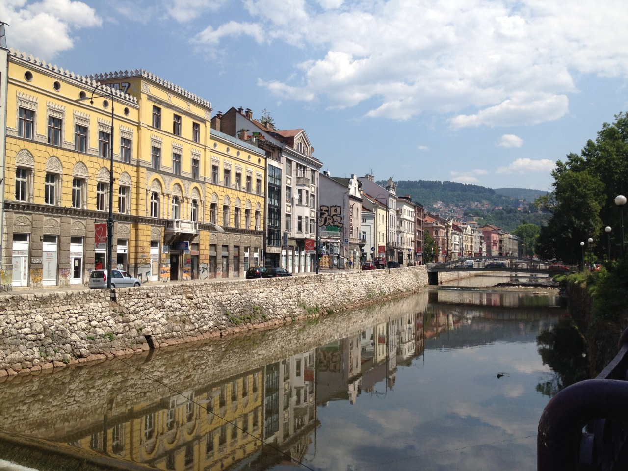 The Austro-Hungarian part of Sarajevo, by the bridge where Franz Ferdinand was assassinated