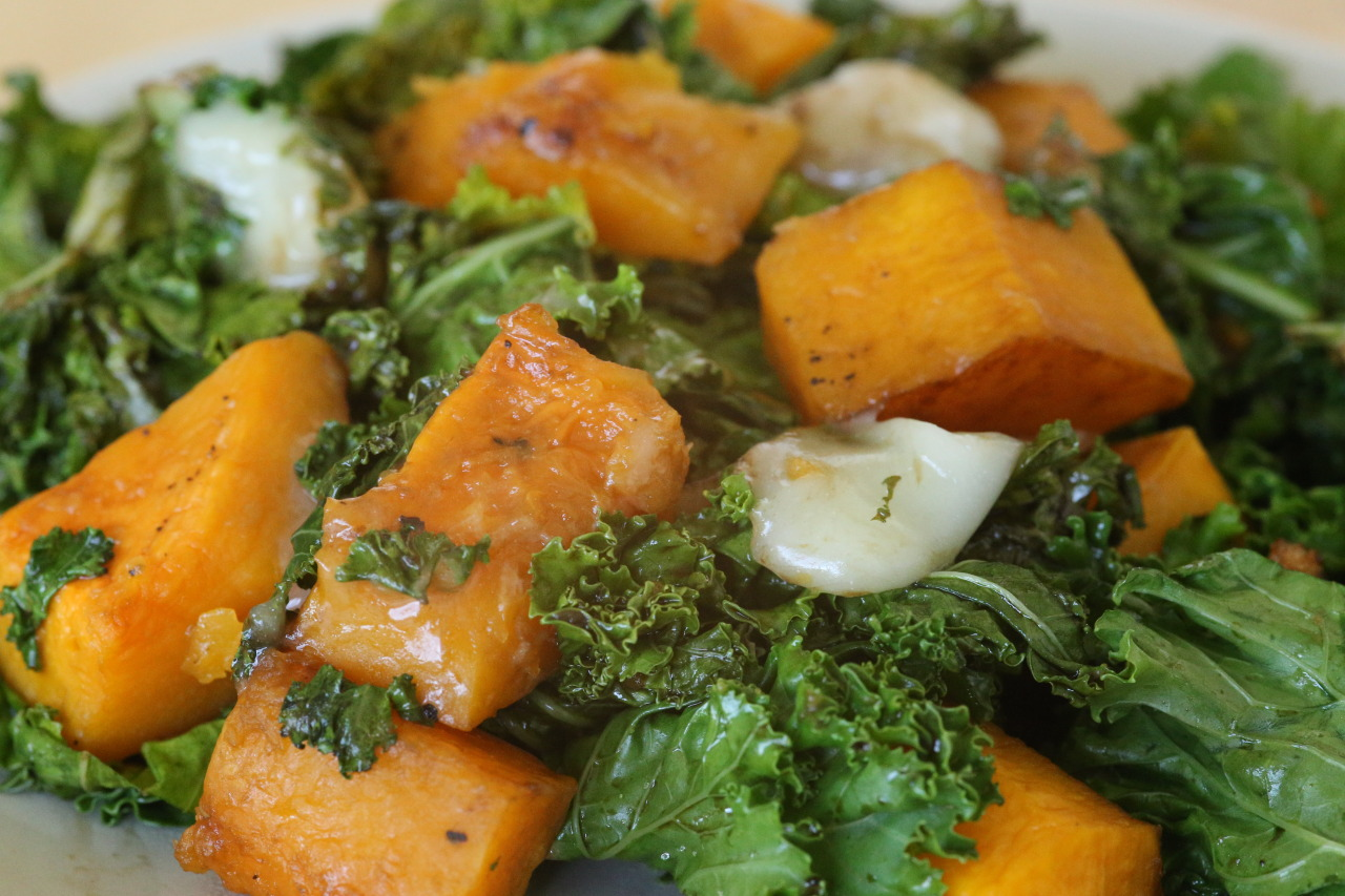 Squash, kale, and cheese
