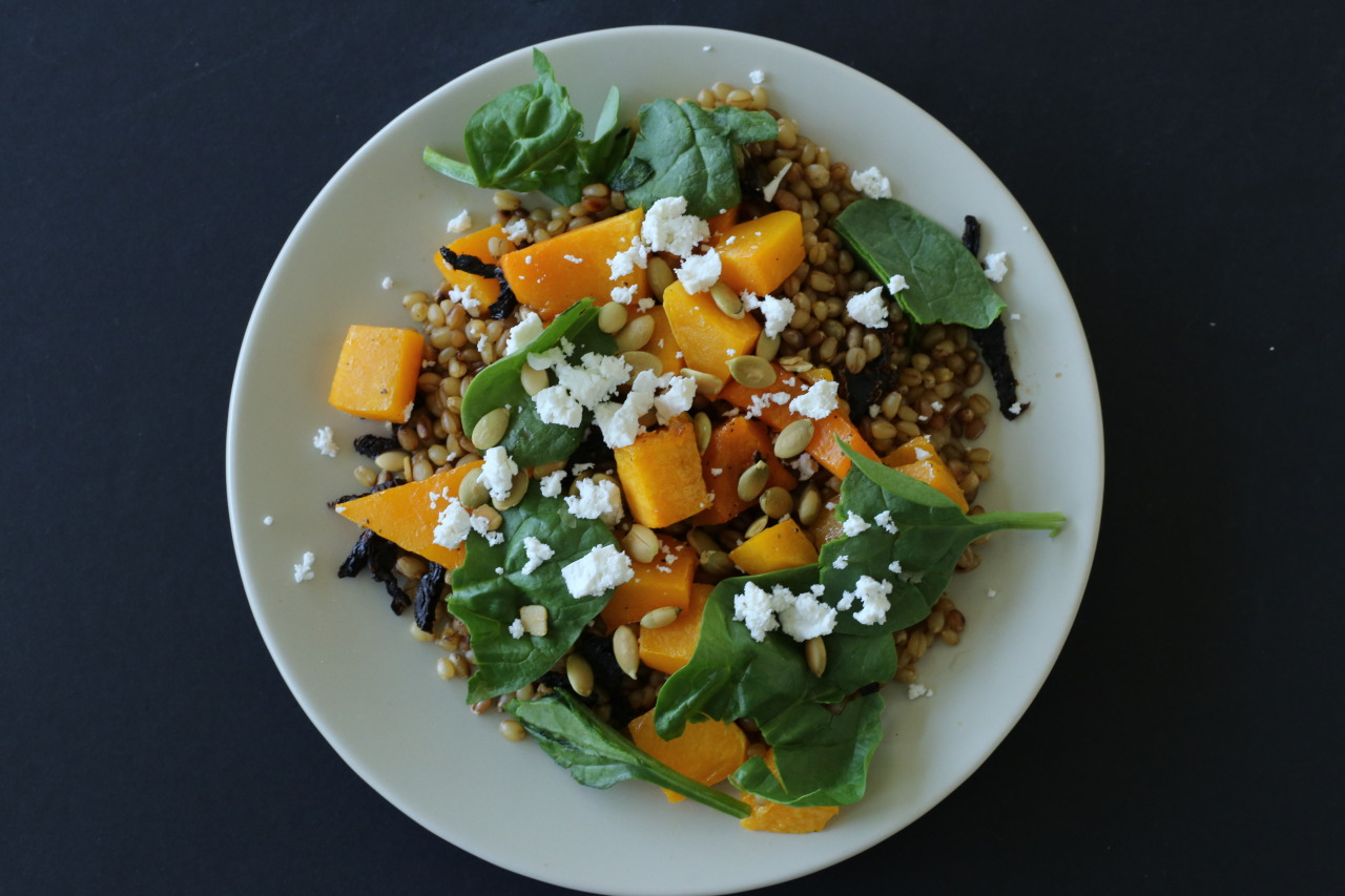 Butternut squash and wheat berry salad