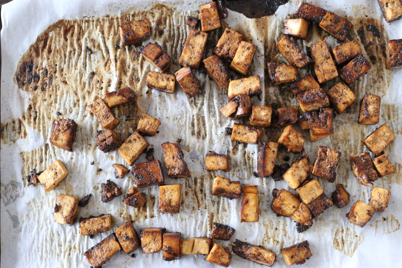 Maple balsamic roasted tofu