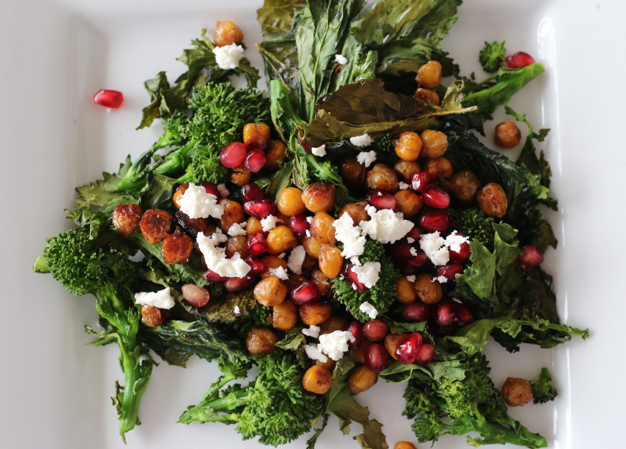 Roasted rapini salad with maple roasted chickpeas and pomegranate
