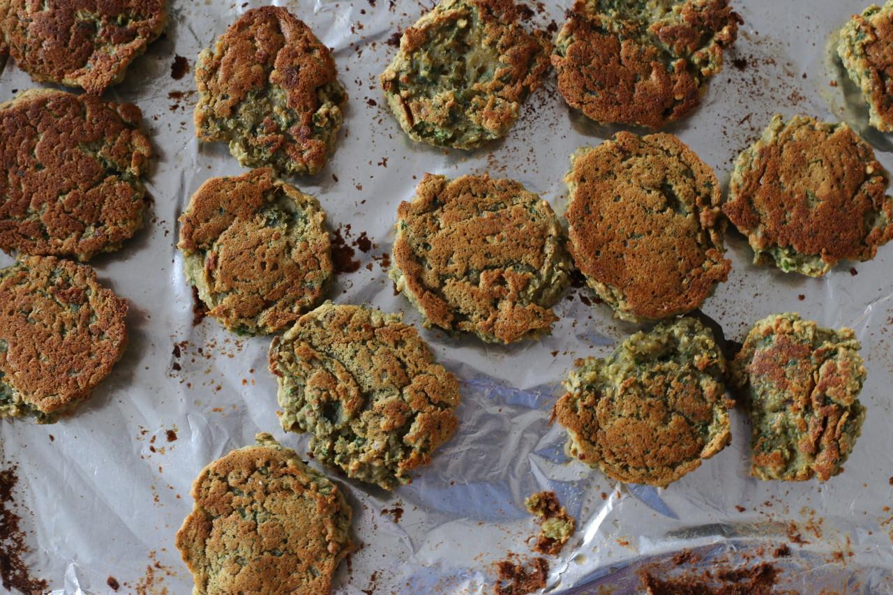 Baked lentil falafels