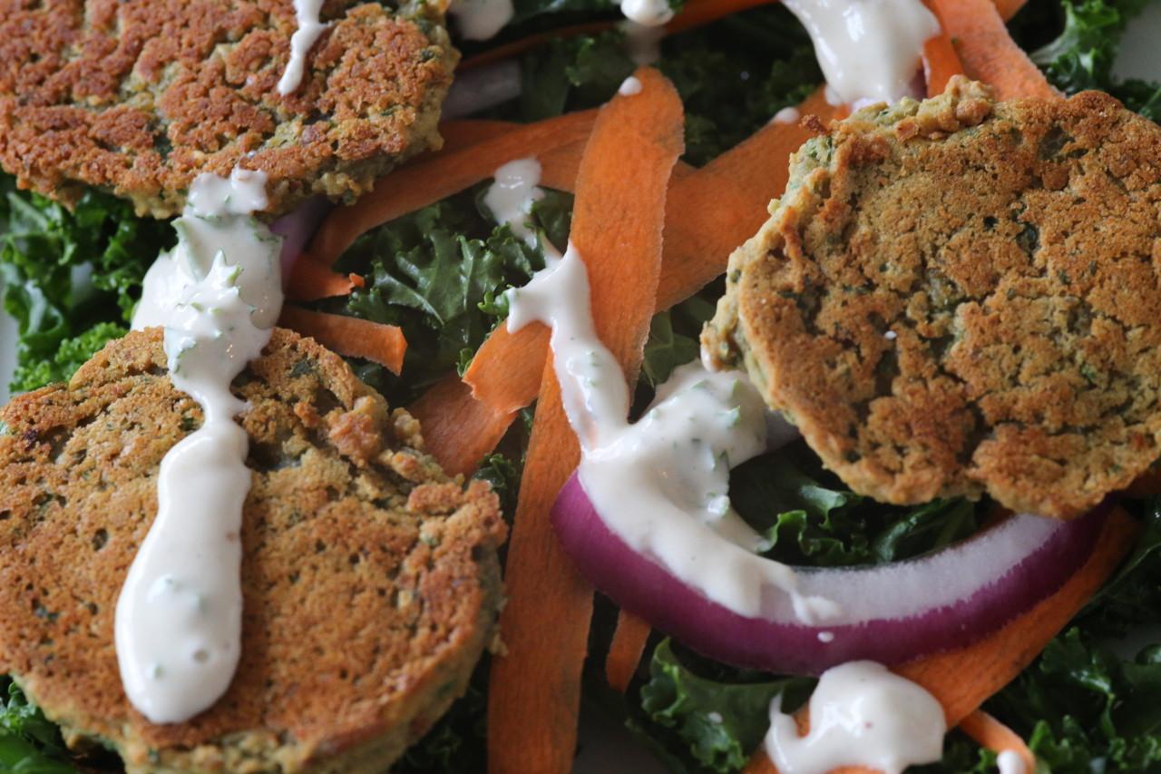 Baked lentil falafel salad