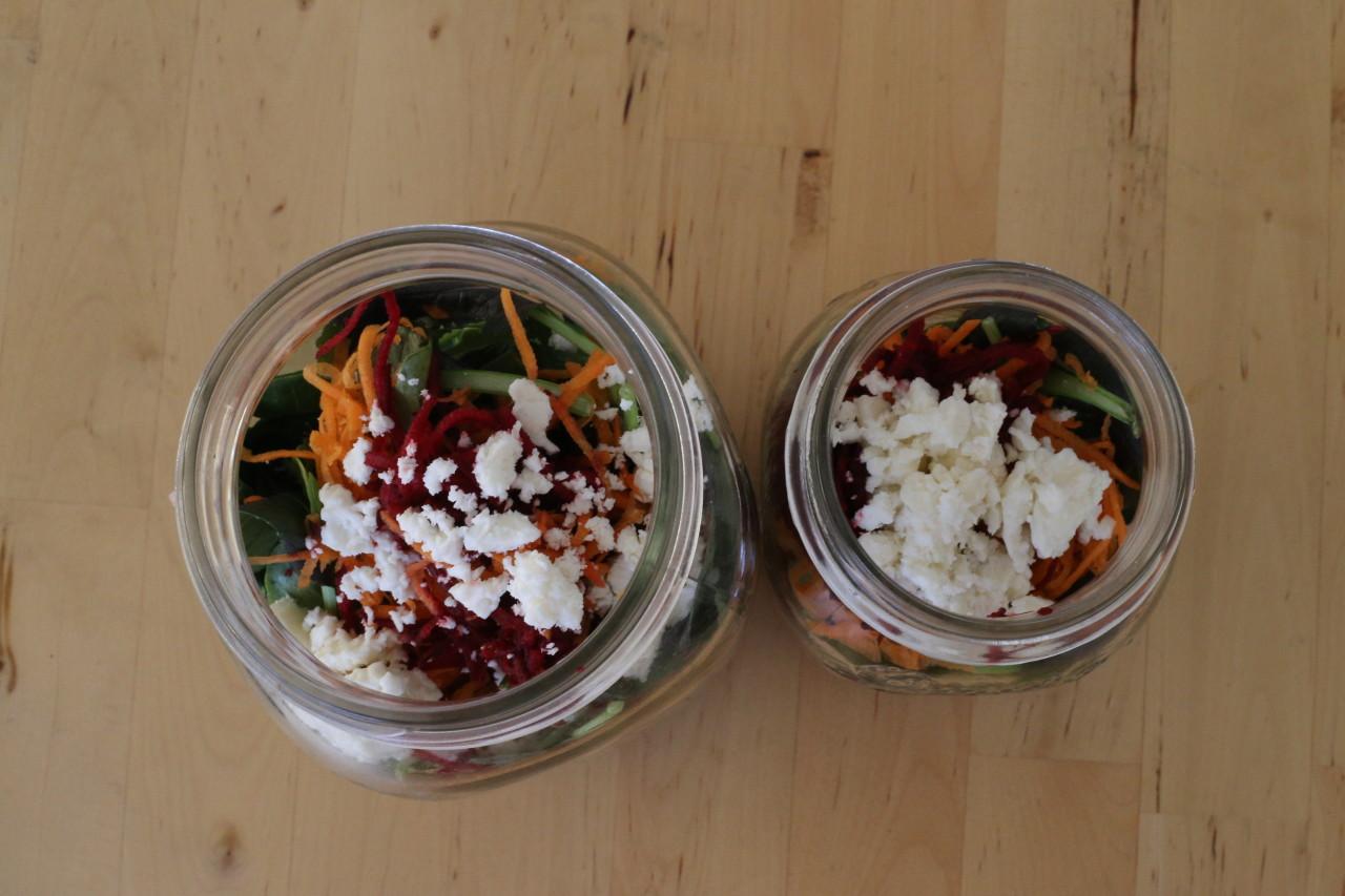 Strawberry feta mason jar salad