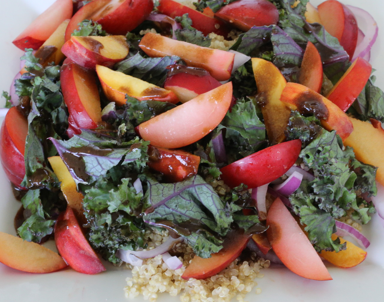 Peach, quinoa and kale salad