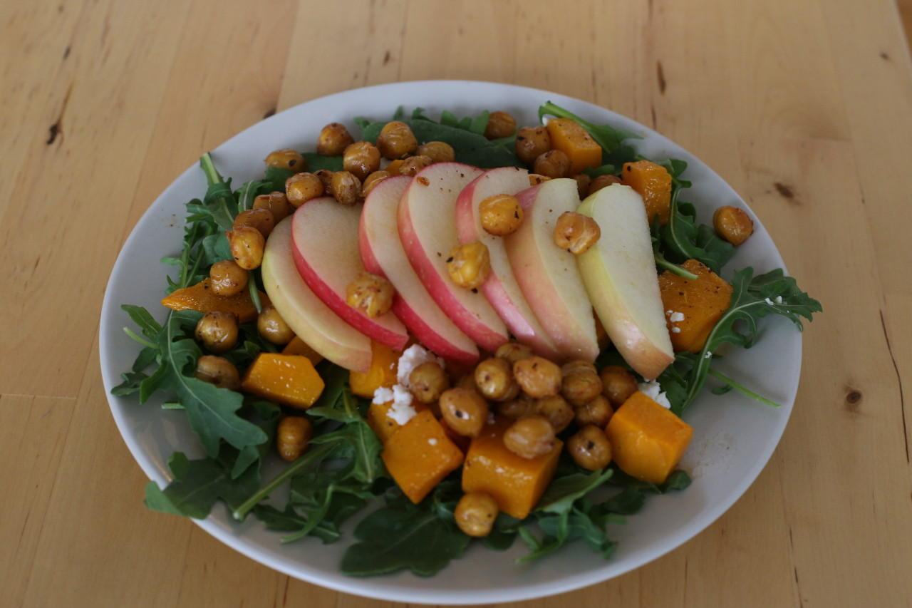 Butternut squash, apple, and chickpea salad