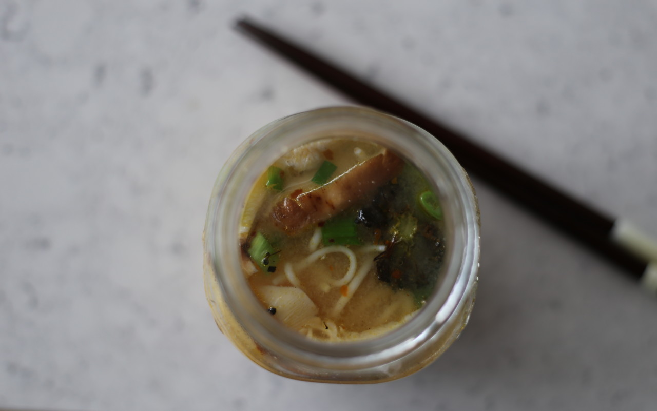 Miso sesame instant noodle cups