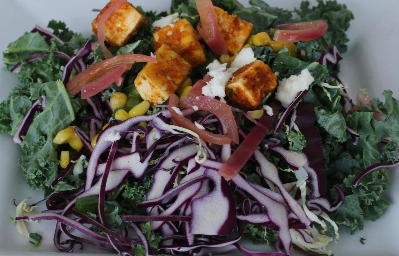 Crispy tofu taco salad
