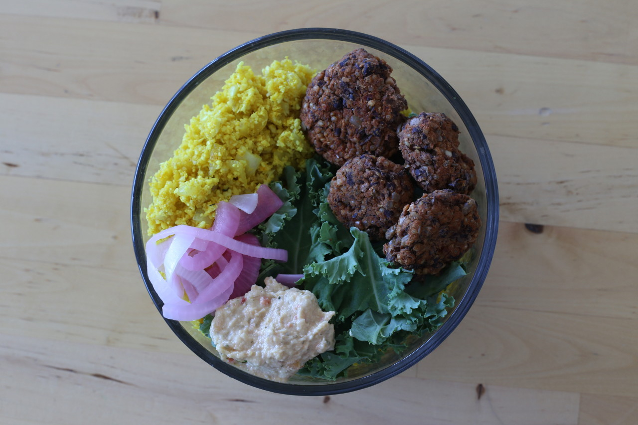 Black bean falafel bowls with cauliflower rice and pickled onions