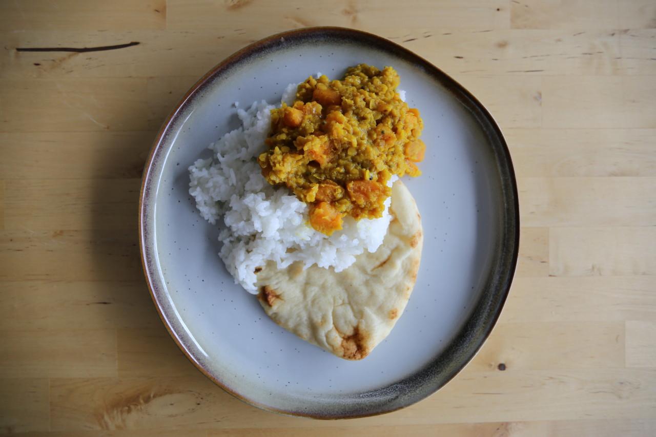 Easy lentil and sweet potato dal
