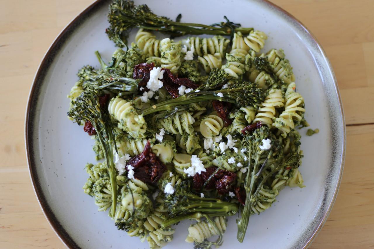 Pasta with pesto and broccolini